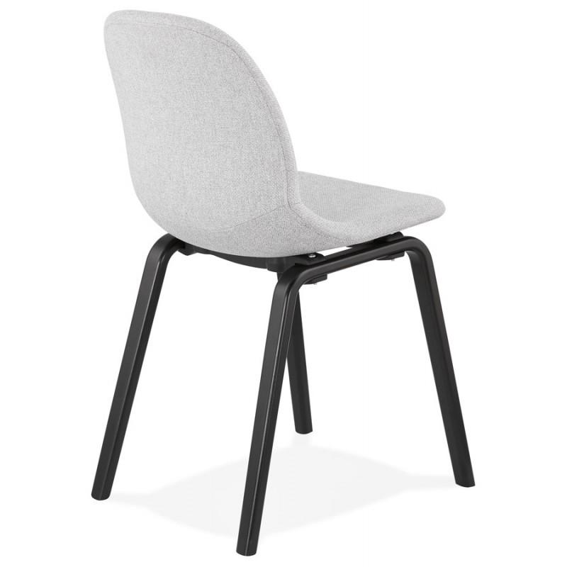 Chaise design et contemporaine en tissu pieds bois noirs MARTINA (gris clair) - image 47616