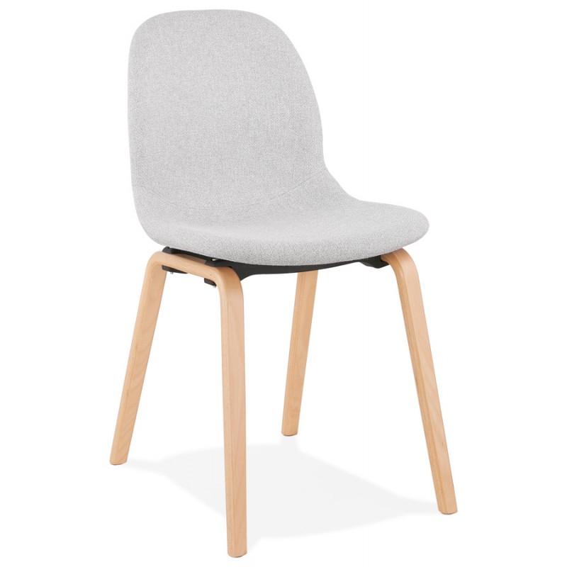 Chaise design et scandinave en tissu pieds bois finition naturelle MARTINA (gris clair) - image 47623