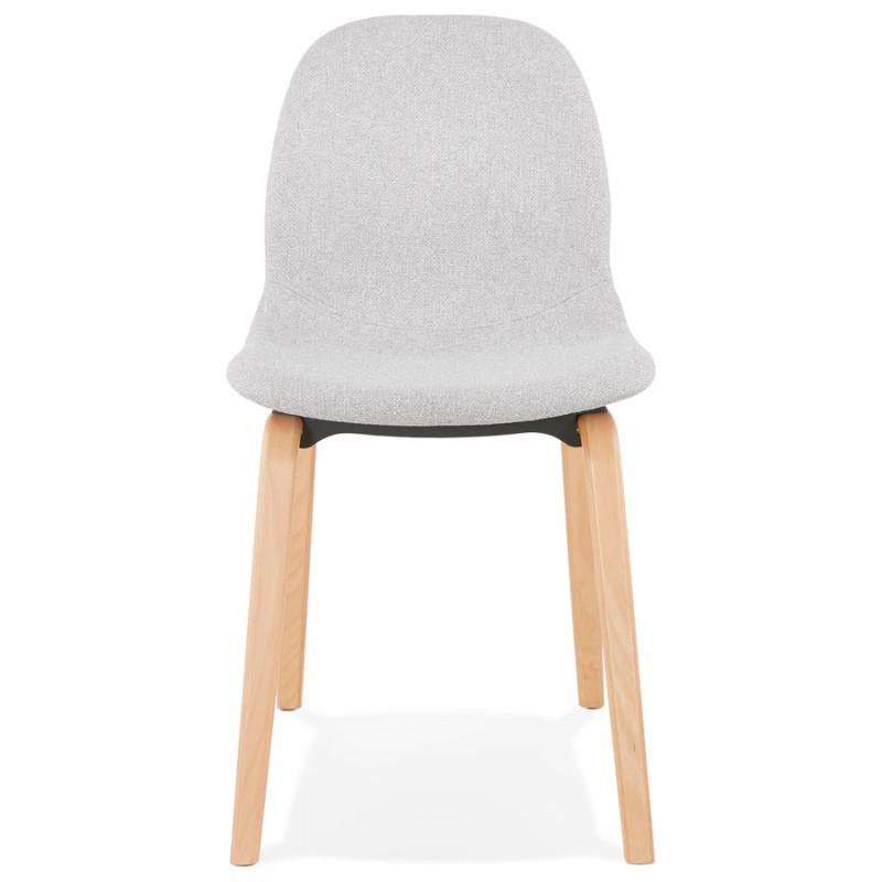 Chaise design et scandinave en tissu pieds bois finition naturelle MARTINA (gris clair) - image 47624