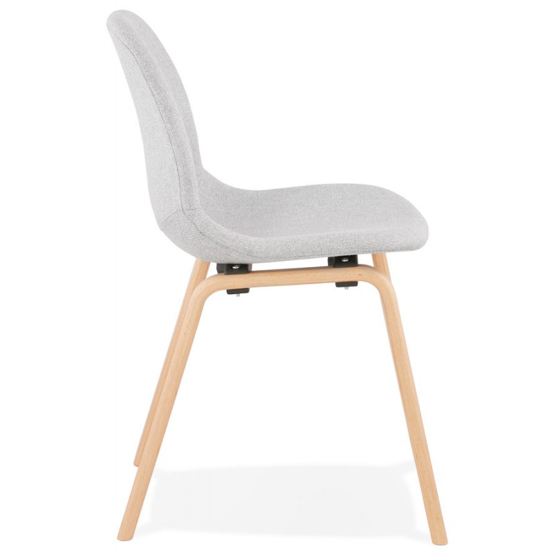 Chaise design et scandinave en tissu pieds bois finition naturelle MARTINA (gris clair) - image 47625