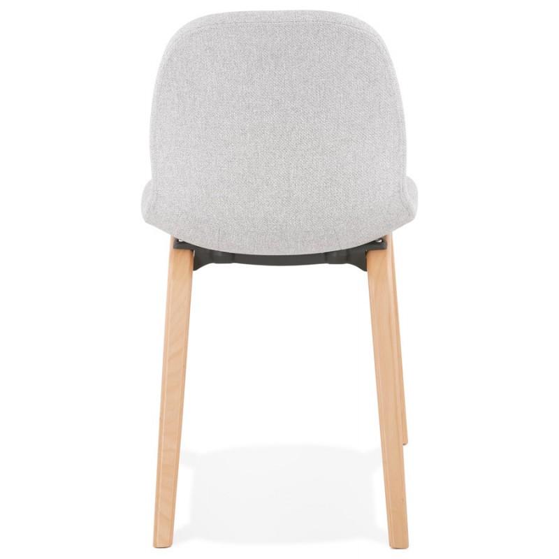 Chaise design et scandinave en tissu pieds bois finition naturelle MARTINA (gris clair) - image 47627
