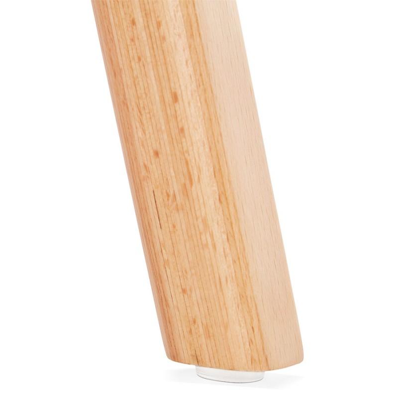Chaise design et scandinave en tissu pieds bois finition naturelle MARTINA (gris clair) - image 47631