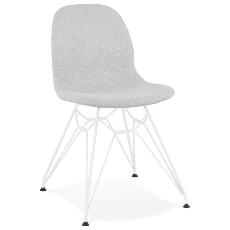 Chaise design industrielle en tissu pieds métal blanc MOUNA (gris clair) - image 47656