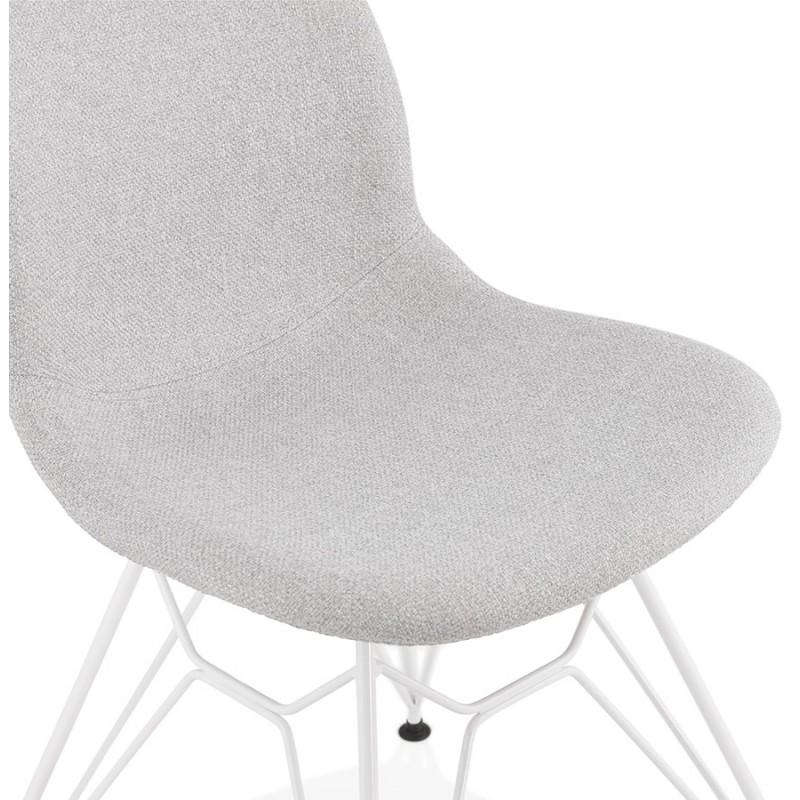 Chaise design industrielle en tissu pieds métal blanc MOUNA (gris clair) - image 47662