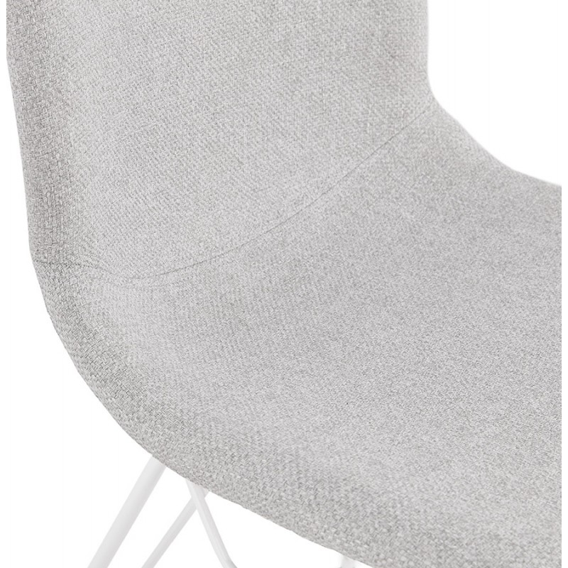 Silla de diseño industrial en tejido de pie de metal blanco MOUNA (gris claro) - image 47664