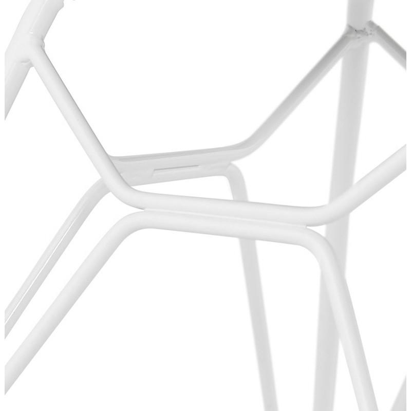 Chaise design industrielle en tissu pieds métal blanc MOUNA (gris clair) - image 47667