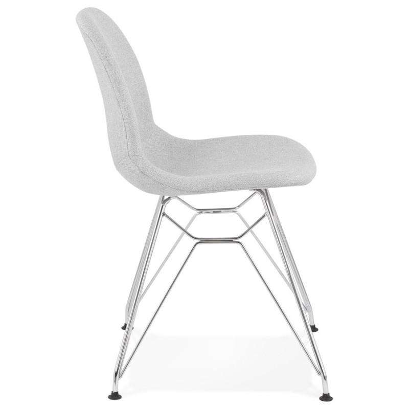 Chaise design industrielle en tissu pieds métal chromé MOUNA (gris clair) - image 47671