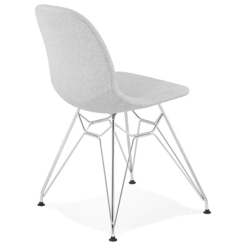 Chaise design industrielle en tissu pieds métal chromé MOUNA (gris clair) - image 47672