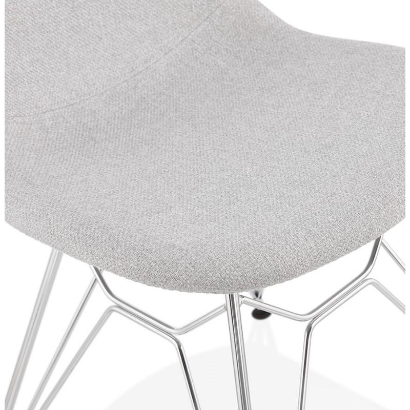 Chaise design industrielle en tissu pieds métal chromé MOUNA (gris clair) - image 47676