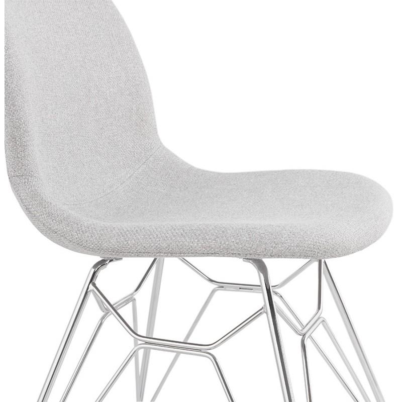 Chaise design industrielle en tissu pieds métal chromé MOUNA (gris clair) - image 47677