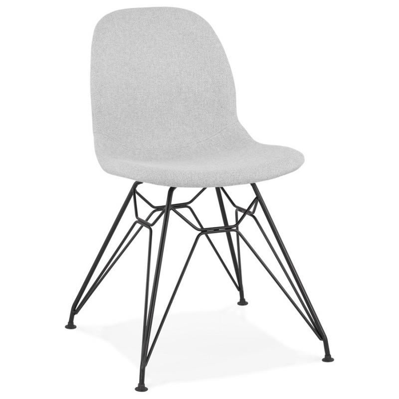 Chaise design industrielle en tissu pieds métal noir MOUNA (gris clair) - image 47681