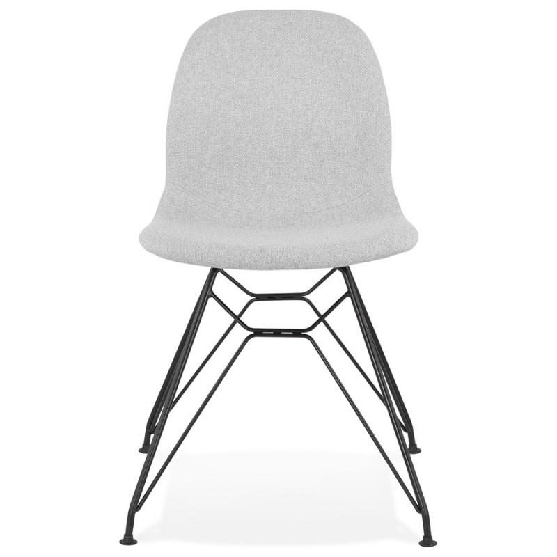 Chaise design industrielle en tissu pieds métal noir MOUNA (gris clair) - image 47682