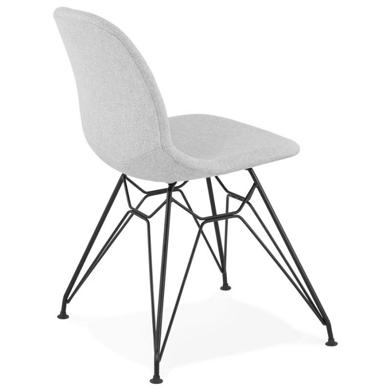Chaise design industrielle en tissu pieds métal noir MOUNA (gris clair) - image 47684