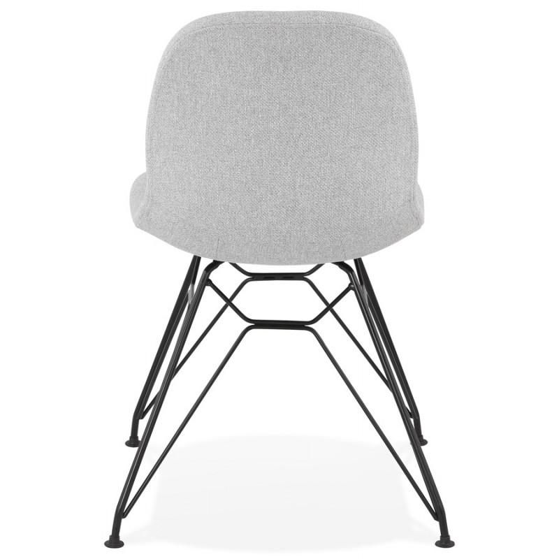 Chaise design industrielle en tissu pieds métal noir MOUNA (gris clair) - image 47685