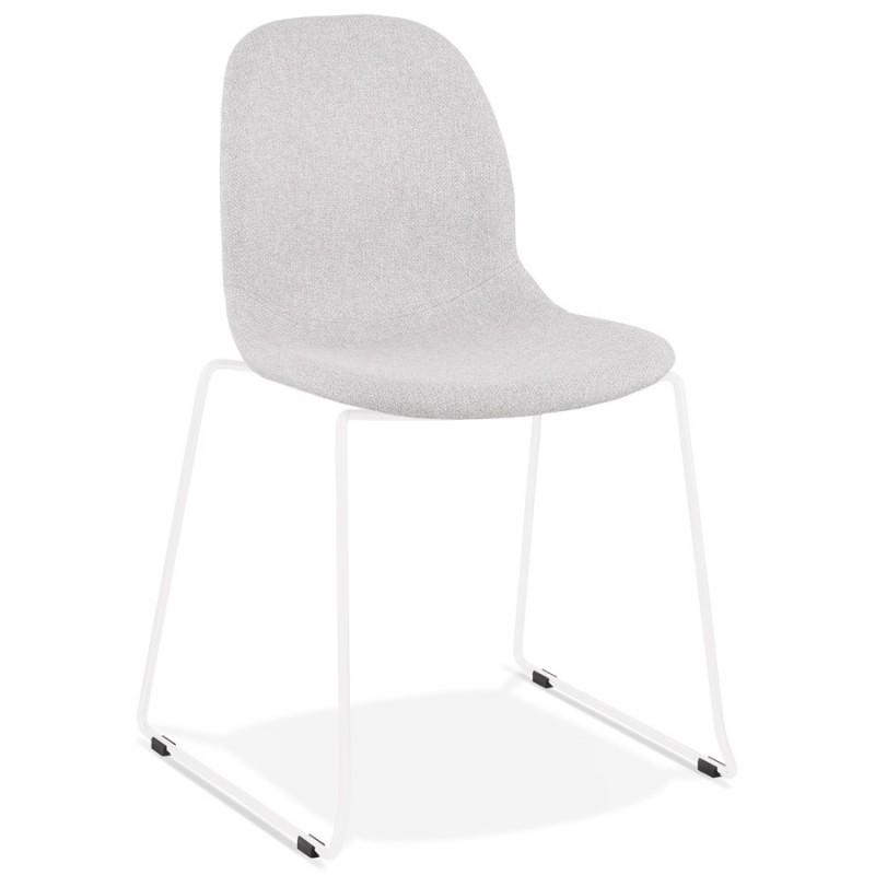 Chaise design empilable en tissu pieds métal blanc MANOU (gris clair) - image 47694