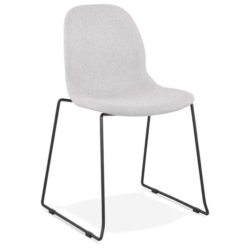 Chaise design empilable en tissu pieds métal noir MANOU (gris clair)
