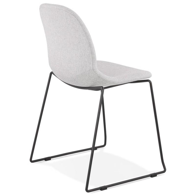 Chaise design empilable en tissu pieds métal noir MANOU (gris clair) - image 47706