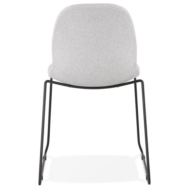 Chaise design empilable en tissu pieds métal noir MANOU (gris clair) - image 47707