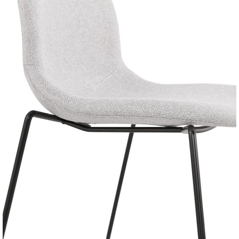 Chaise design empilable en tissu pieds métal noir MANOU (gris clair) - image 47710
