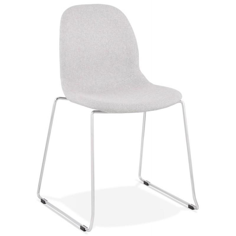 Chaise design empilable en tissu pieds métal chromé MANOU (gris clair) - image 47715