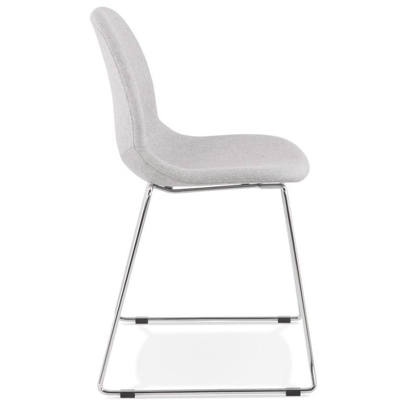 Chaise design empilable en tissu pieds métal chromé MANOU (gris clair) - image 47717