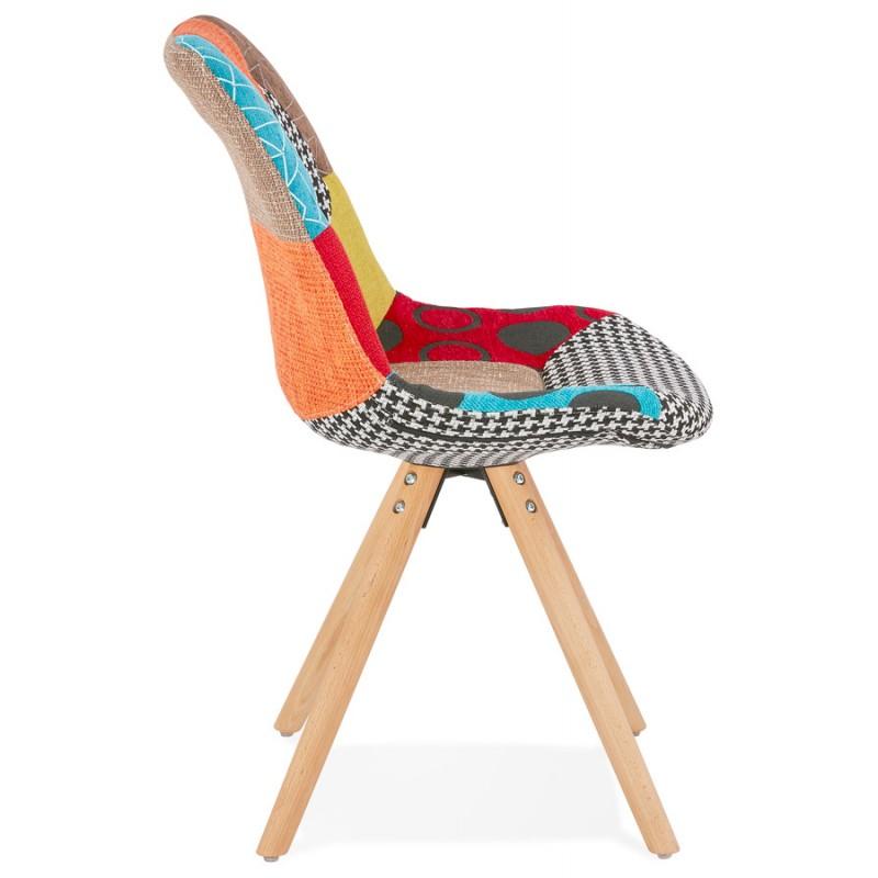 Chaise bohème patchwork en tissu pieds bois finition naturelle MANAO (multicolore) - image 47729