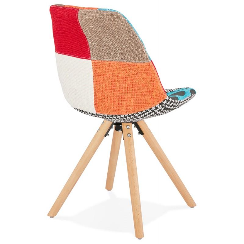 Chaise bohème patchwork en tissu pieds bois finition naturelle MANAO (multicolore) - image 47730