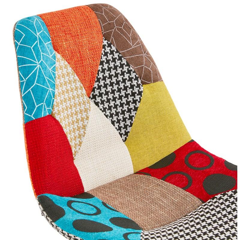 Chaise bohème patchwork en tissu pieds bois finition naturelle MANAO (multicolore) - image 47732