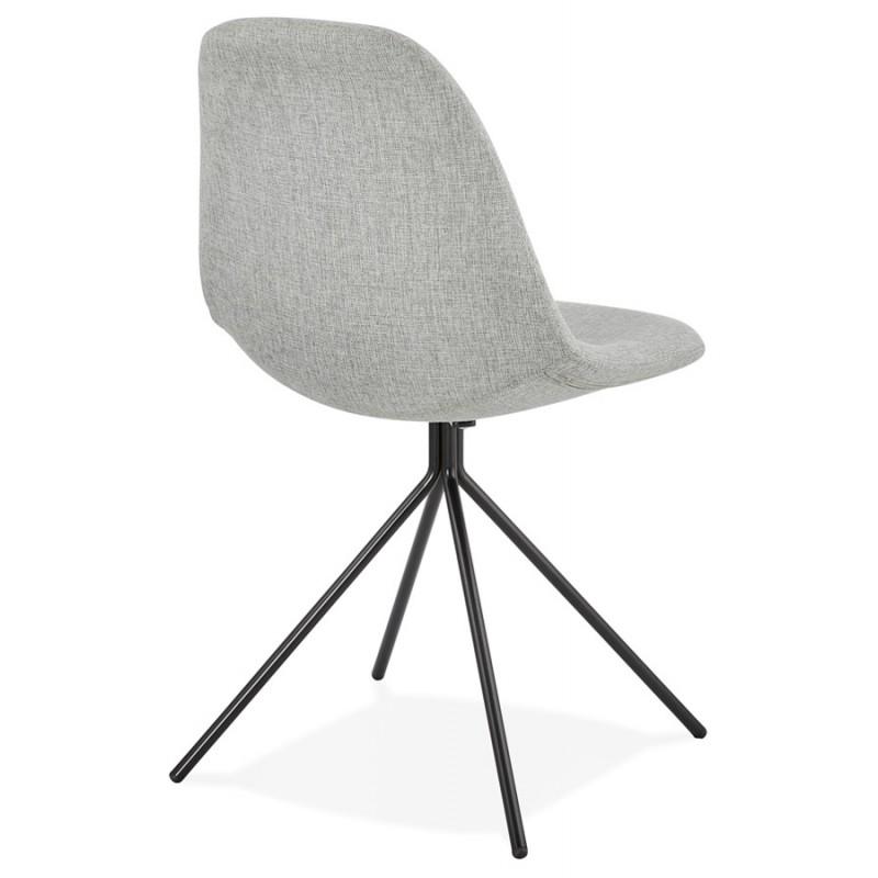 Chaise design et scandinave en tissu pieds métal noir MALVIN (gris clair) - image 47741