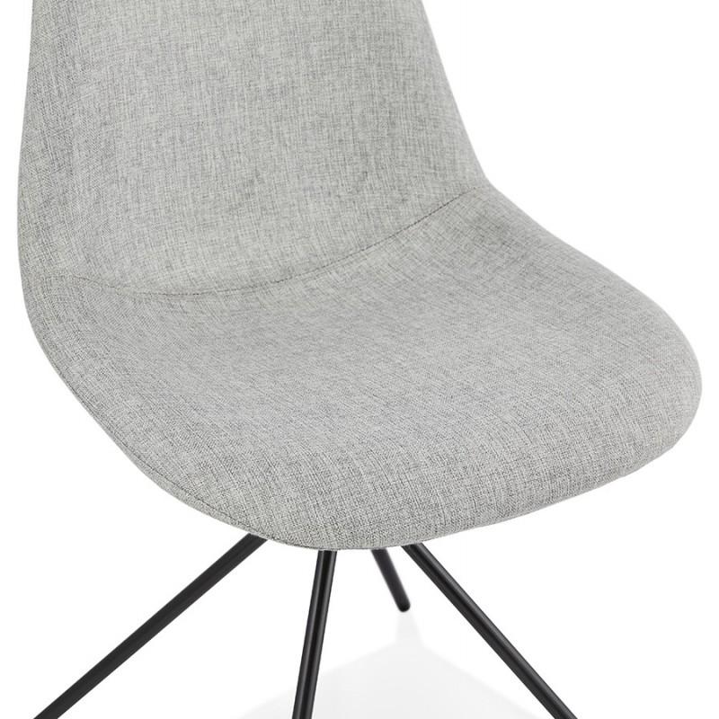 Chaise design et scandinave en tissu pieds métal noir MALVIN (gris clair) - image 47743