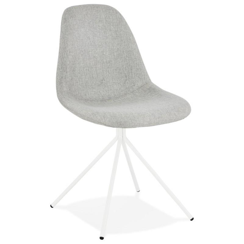 Chaise design et scandinave en tissu pieds métal blanc MALVIN (gris clair) - image 47748