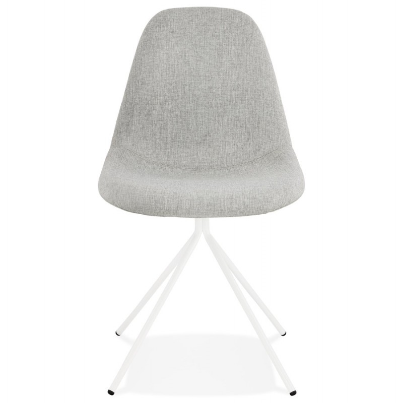 Chaise design et scandinave en tissu pieds métal blanc MALVIN (gris clair) - image 47749