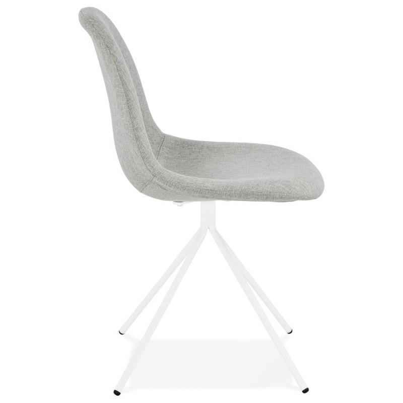 Chaise design et scandinave en tissu pieds métal blanc MALVIN (gris clair) - image 47750