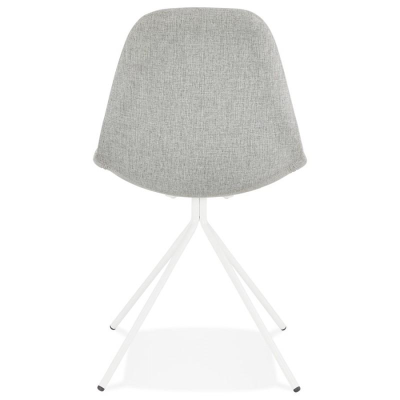 Chaise design et scandinave en tissu pieds métal blanc MALVIN (gris clair) - image 47752