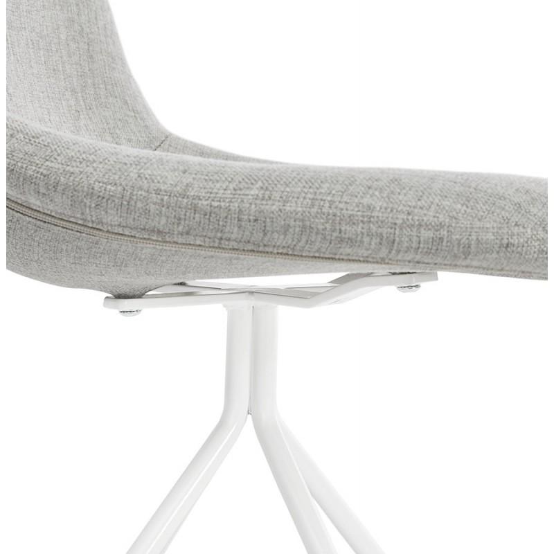 Chaise design et scandinave en tissu pieds métal blanc MALVIN (gris clair) - image 47756