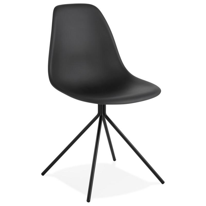 Chaise design industrielle pieds métal noir MELISSA (noir) - image 47758