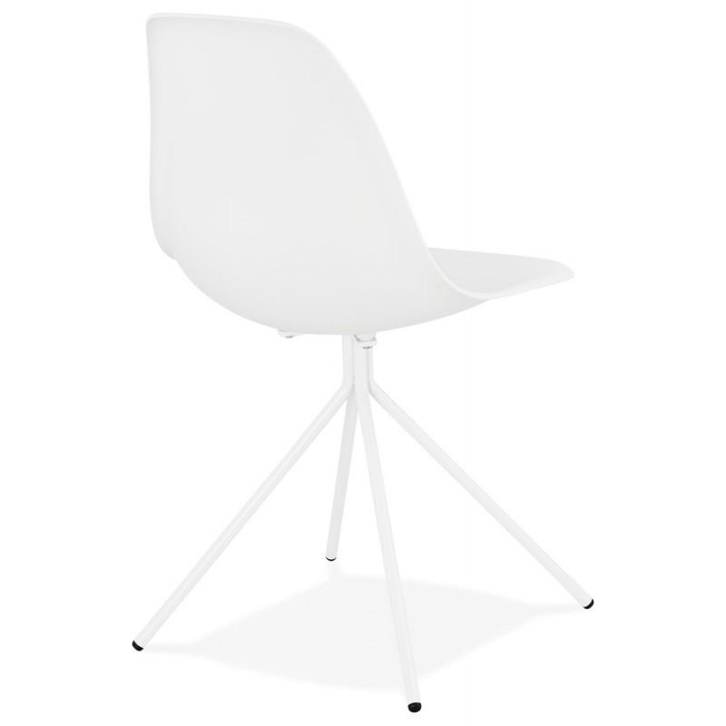 Chaise design industrielle pieds métal blanc MELISSA (blanc) - image 47775