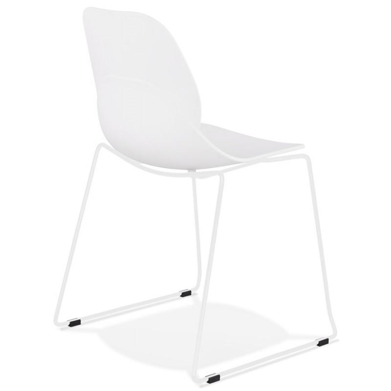 Chaise design empilable pieds métal blanc MALAURY (blanc) - image 47796