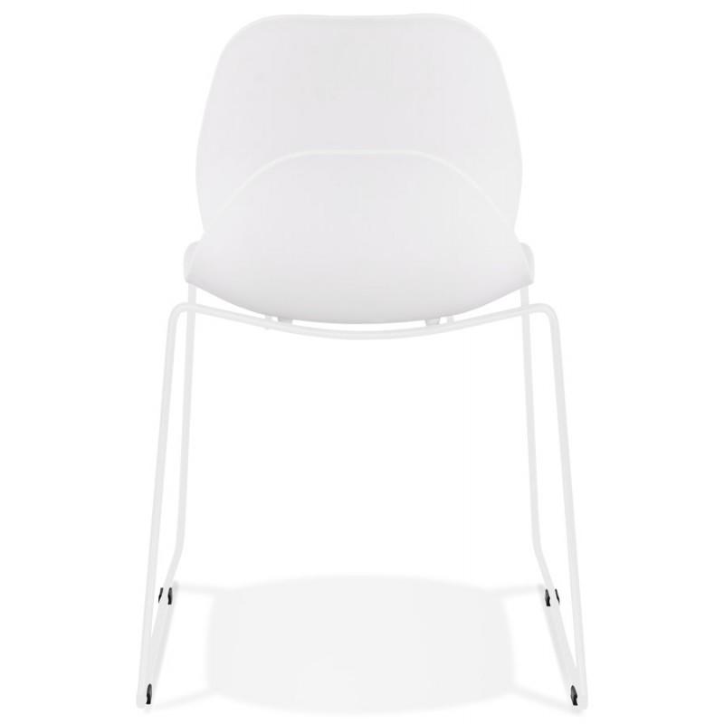 Chaise design empilable pieds métal blanc MALAURY (blanc) - image 47798