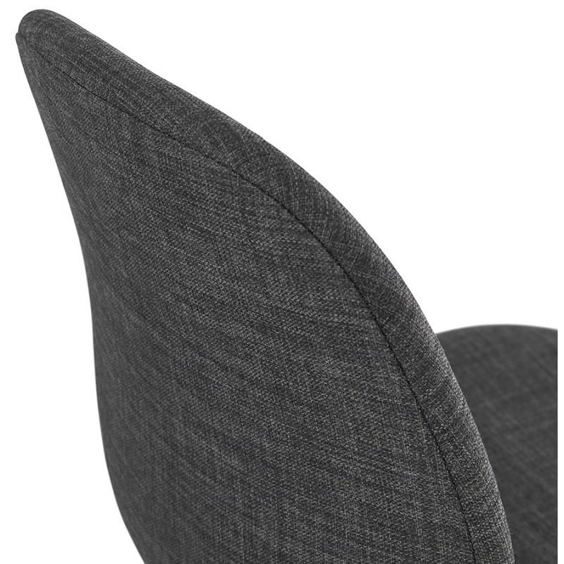 Chaise design empilable en tissu pieds métal blanc MANOU (gris foncé) - image 47799
