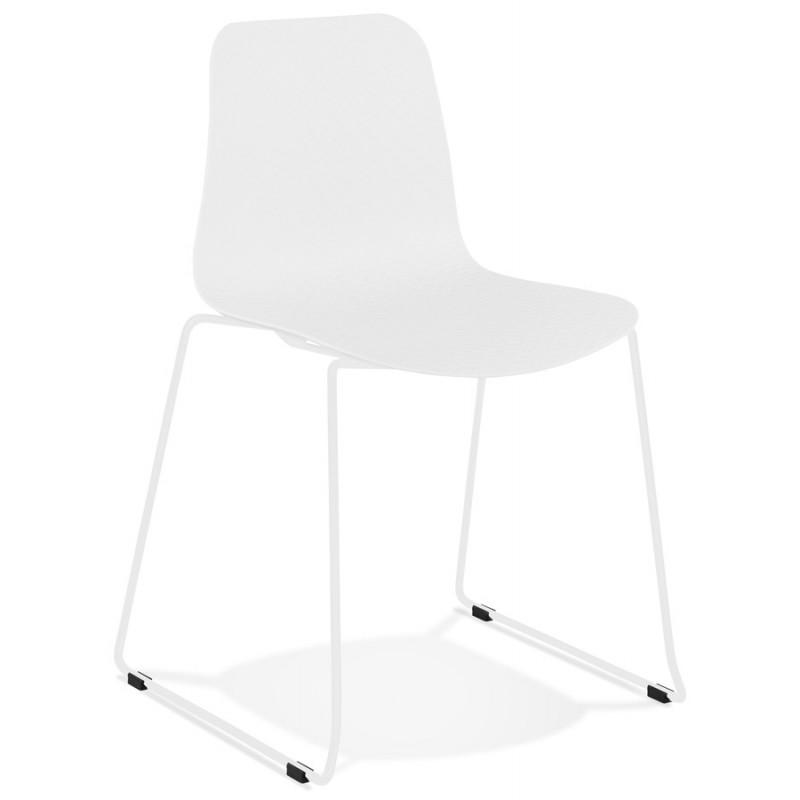 Chaise moderne empilable pieds métal blanc ALIX (blanc)