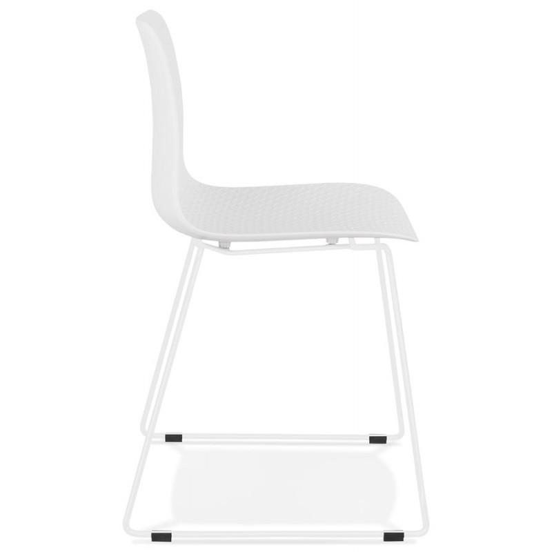 Chaise moderne empilable pieds métal blanc ALIX (blanc) - image 47808