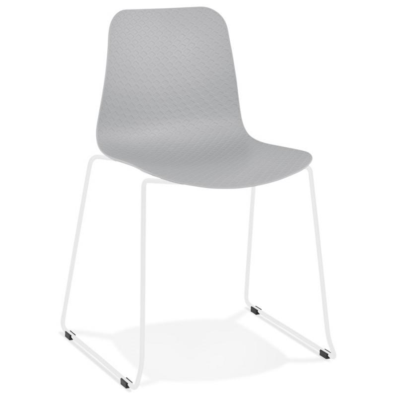 Chaise moderne empilable pieds métal blanc ALIX (gris clair) - image 47824