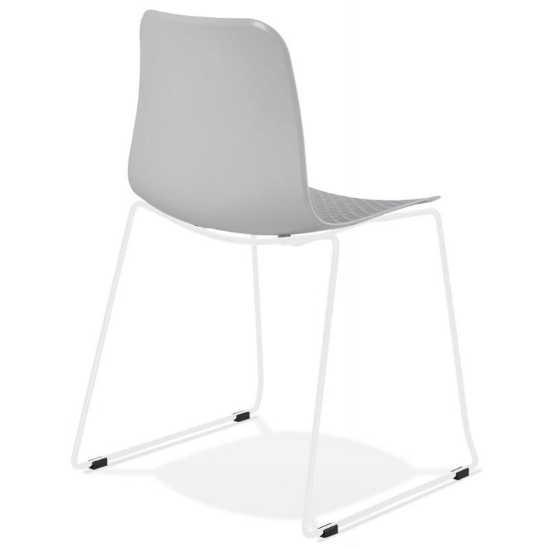 Chaise moderne empilable pieds métal blanc ALIX (gris clair) - image 47827