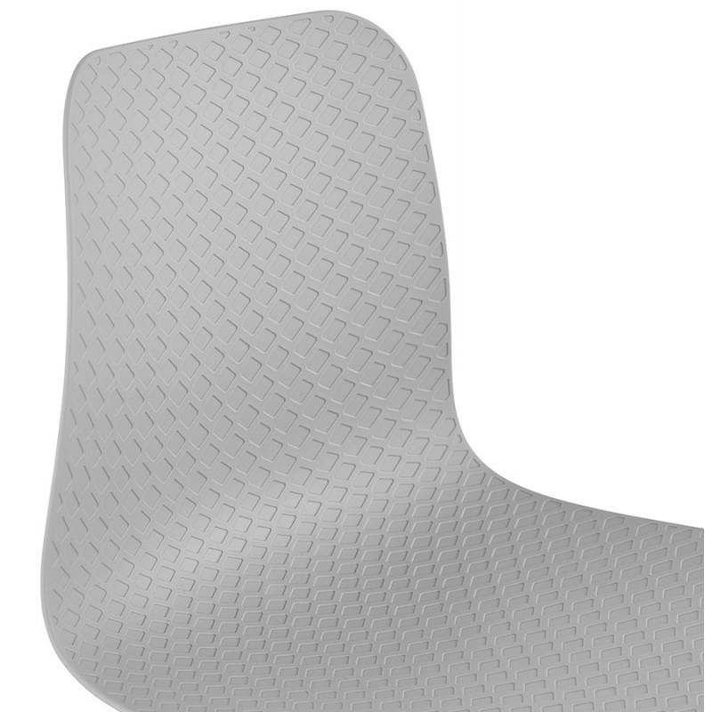 Chaise moderne empilable pieds métal blanc ALIX (gris clair) - image 47829