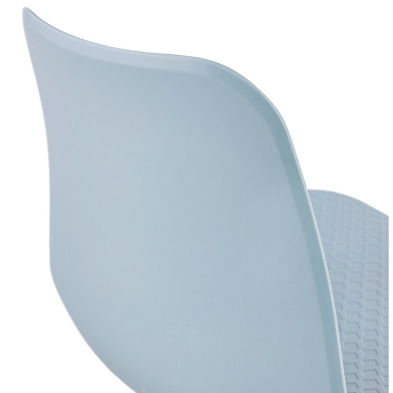 Chaise moderne empilable pieds métal blanc ALIX (bleu ciel) - image 47839