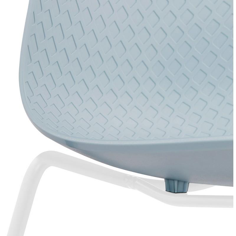 Chaise moderne empilable pieds métal blanc ALIX (bleu ciel) - image 47840