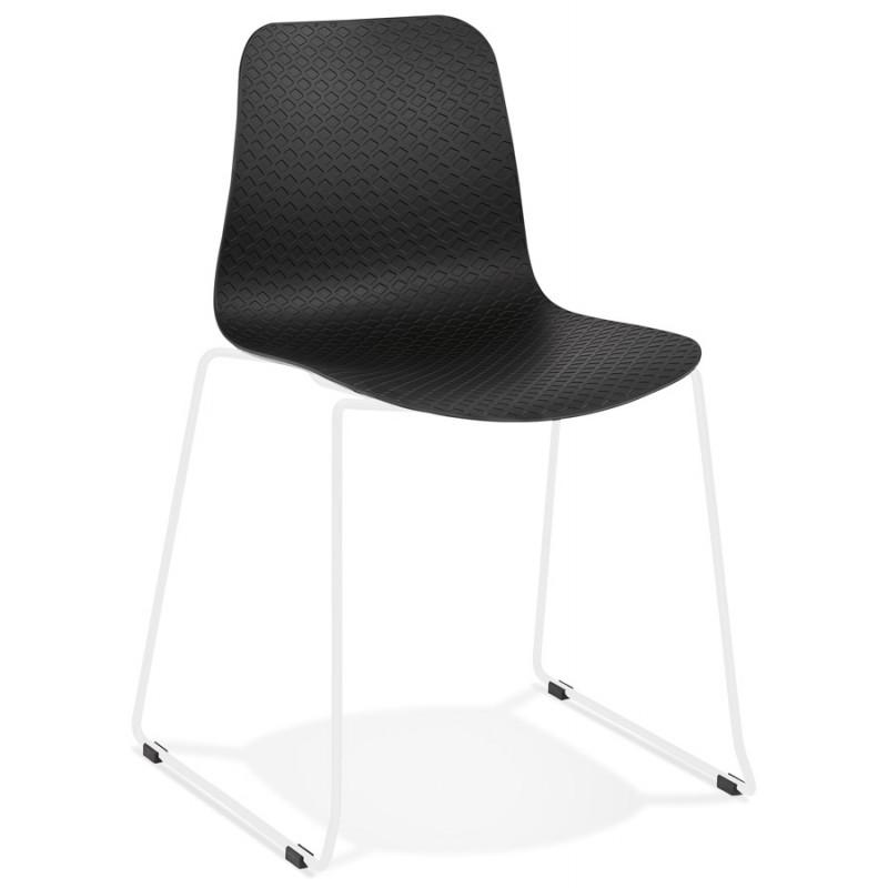 Chaise moderne empilable pieds métal blanc ALIX (noir)