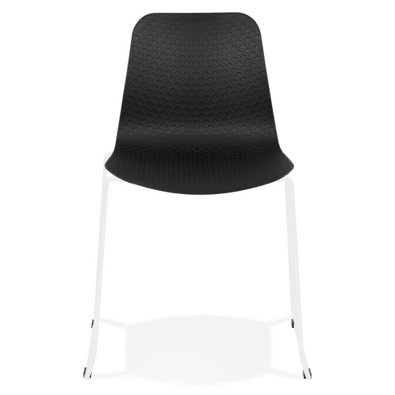 Chaise moderne empilable pieds métal blanc ALIX (noir) - image 47843