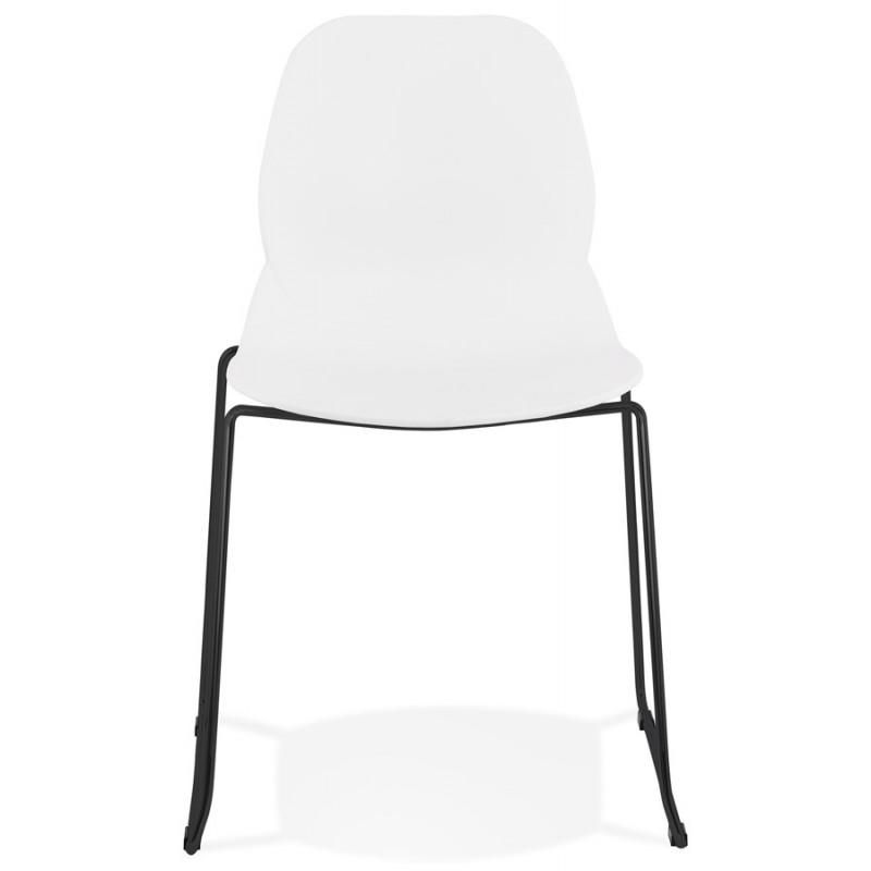 Chaise design empilable pieds métal noir MALAURY (blanc) - image 47852